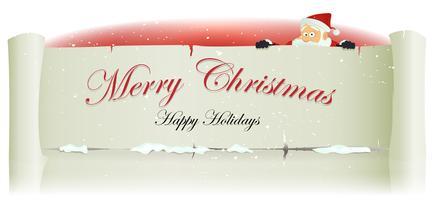 Babbo Natale dietro sfondo di pergamena di Natale allegro vettore
