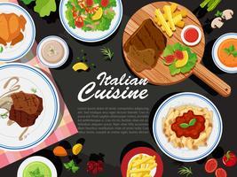 Disegno di sfondo con diversi tipi di cibo