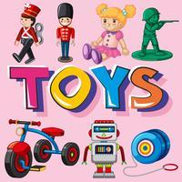 Diversi tipi di giocattoli vettore