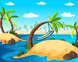 Scena di sfondo con isole nell'oceano
