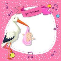 Border templat con uccello e bambino su sfondo rosa vettore