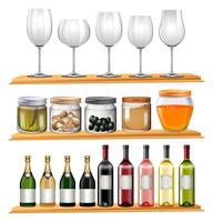 Bicchieri da vino e cibo sugli scaffali in legno vettore