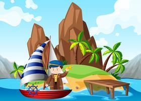 Marinaio sulla barca a vela in mare vettore