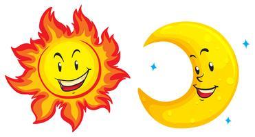 Sole e luna con faccia felice