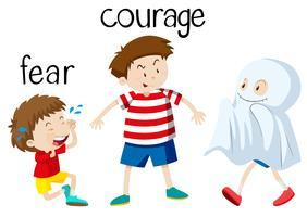Carta di parole di fronte alla paura e al coraggio vettore