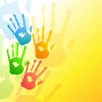 mani colorate sullo sfondo