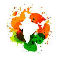 Mappa vettoriale dell'India con spruzzi di inchiostro colorato