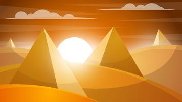 Paesaggio desertico Piramide e sole. vettore