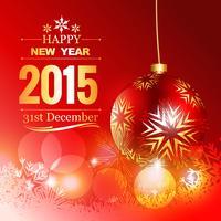 bella palla rossa di Natale con auguri di buon anno vettore
