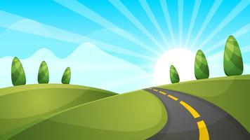 Illustrazione di paesaggio dei cartoni animati Sole. nuvola, collina. vettore