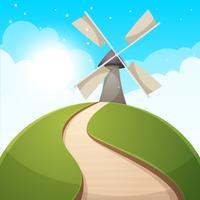Illustrazione di paesaggio dei cartoni animati Sole. strada, collina nuvola
