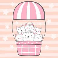 Gatto, personaggi gattino. Illustrazione di mongolfiera. vettore