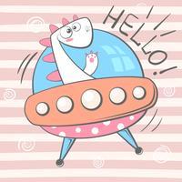 Simpatico, simpatico, carino, divertente, pazzo, bellissimo personaggio dino. Illustrazione UFO.