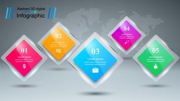 Infografica di affari Cinque oggetti di carta. vettore