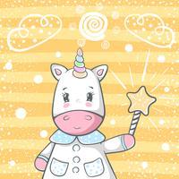Simpatici personaggi di unicorno trik magico. vettore