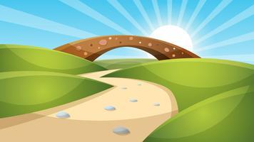 Illustrazione di paesaggio dei cartoni animati Sole. nuvola, montagna, collina. vettore