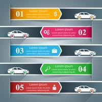 Infografica di carta. Auto, icona della strada.