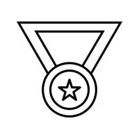 icona nera linea medaglia