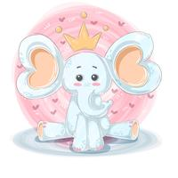 Illustrazione sveglia e divertente - caratteri dell'elefante del fumetto.