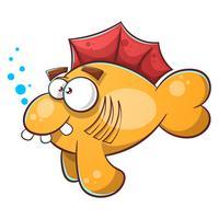 Illustrazione di pesce del fumetto. Dente, acqua, occhio.