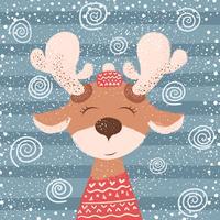 Cartone animato divertente cervo personaggio. Illustrazione invernale