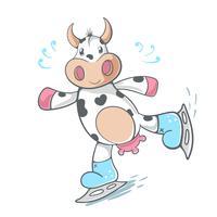 Mucca, carina - illustrazione di scate di ghiaccio. vettore