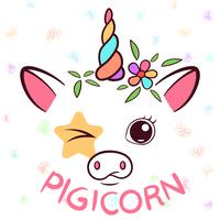Divertente unicorno, caratteri di maialino. Illustrazione di maiale vettore