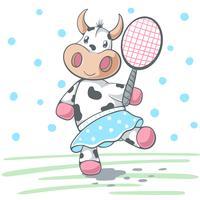cute cow plat big tennis. vettore