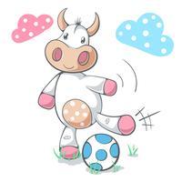 La mucca divertente sveglia gioca a calcio, calcio. vettore