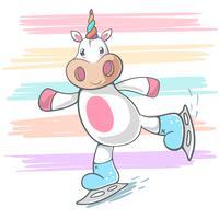 Unicorno carino, illustrazione pattinare sul ghiaccio. vettore
