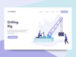 Modello della pagina di atterraggio di Drilling Rig Illustration Concept. Concetto di design piatto isometrica della progettazione di pagine Web per sito Web e sito Web mobile. Illustrazione di vettore