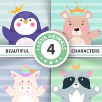 Cartoon set animali - pinguino, orso, unicorno, procione. vettore