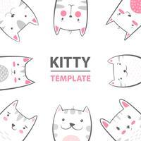 Gatto, personaggi gattino - modello di cartone animato. vettore