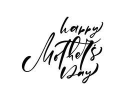 Felice festa della mamma lettering nero vettoriale calligrafia testo.