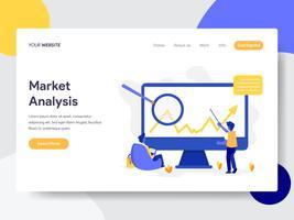 Modello della pagina di atterraggio del concetto dell'illustrazione di analisi di mercato. Concetto di design piatto di progettazione di pagine Web per sito Web e sito Web mobile. Illustrazione di vettore