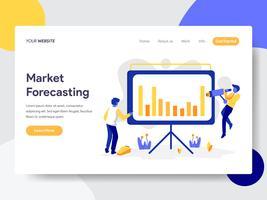 Modello della pagina di atterraggio del concetto dell'illustrazione di previsioni del mercato. Concetto di design piatto di progettazione di pagine Web per sito Web e sito Web mobile. Illustrazione di vettore