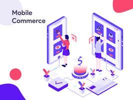Illustrazione isometrica di commercio mobile. Stile moderno design piatto per sito Web e sito Web mobile. Illustrazione vettoriale
