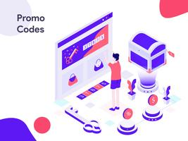 Illustrazione isometrica codici promozionali online. Stile moderno design piatto per sito Web e sito Web mobile. Illustrazione vettoriale
