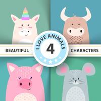 Personaggi dei cartoni animati animali unicorno, toro, maiale, topo