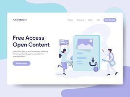 Modello di pagina di destinazione di accesso gratuito e Open Content Illustration Concept. Concetto di design piatto isometrica della progettazione di pagine Web per sito Web e sito Web mobile. Illustrazione di vettore