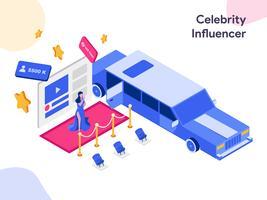 Celebrity Influencer Isometric Illustration. Stile moderno design piatto per sito Web e sito Web mobile. Illustrazione vettoriale