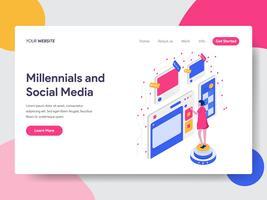 Modello di pagina di destinazione del concetto di illustrazione isometrica di media sociali e Millennials. Concetto di design piatto isometrica della progettazione di pagine Web per sito Web e sito Web mobile. Illustrazione di vettore