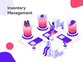 Illustrazione isometrica di gestione inventario. Stile moderno design piatto per sito Web e sito Web mobile. Illustrazione vettoriale