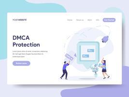 Modello di pagina di destinazione del concetto di illustrazione di protezione DMCA. Concetto di design piatto isometrica della progettazione di pagine Web per sito Web e sito Web mobile. Illustrazione di vettore