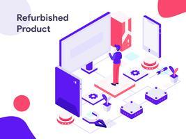 Illustrazione isometrica del prodotto ricondizionato. Stile moderno design piatto per sito Web e sito Web mobile. Illustrazione vettoriale