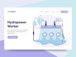 Modello di pagina di destinazione del concetto di illustrazione di energia idroelettrica. Concetto di design piatto isometrica della progettazione di pagine Web per sito Web e sito Web mobile. Illustrazione di vettore