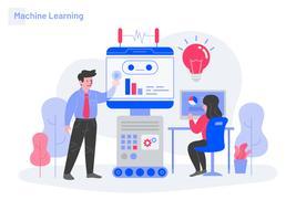 Concetto di Machine Learning Illustration. Concetto di design piatto moderno di progettazione di pagine Web per sito Web e sito Web mobile. Illustrazione di vettore