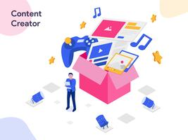 Illustrazione isometrica di Content Creator. Stile moderno design piatto per sito Web e sito Web mobile. Illustrazione vettoriale