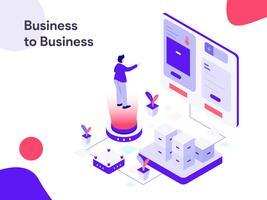 Illustrazione isometrica Business to Business. Stile moderno design piatto per sito Web e sito Web mobile. Illustrazione vettoriale