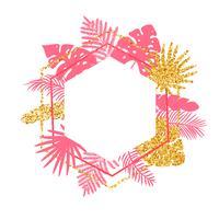 Telaio di vettore di estate tropicale alla moda con foglie di palma e posto per il vostro testo.